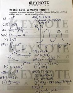 Singapore GCE O-Level Mathematics Paper 2 - 2018 - Answers