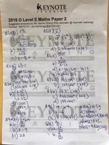 Singapore GCE O-Level Math Paper 2 - 2018 - answers