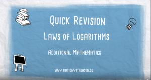 A-Math Additional Math Laws of Logarithms video. Group Tuition Woodlands, Yew Tee, Choa Chu Kang, Sembawang, Yishun and Johor Bahru.