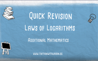 A-Math Additional Math Laws of Logarithms video. Group Tuition Woodlands, Yew Tee, Choa Chu Kang, Sembawang, Yishun and Johor Bahru.