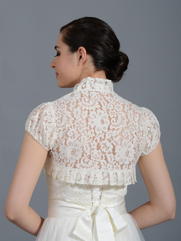 Ivory short sleeve lace bolero Lace_055