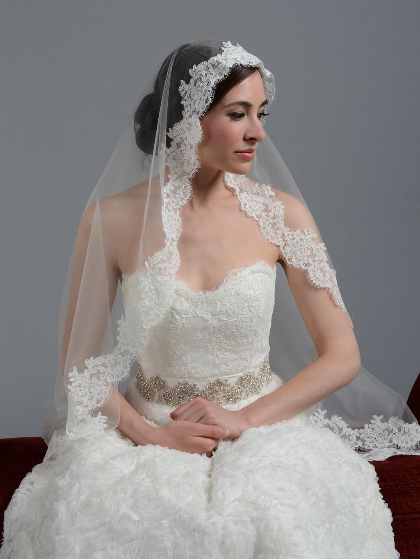 Ivory Wedding Veil Alencon Lace V044