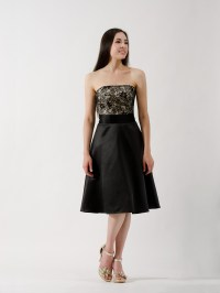Black lace strapless bridesmaid dress - BM_Dress_001