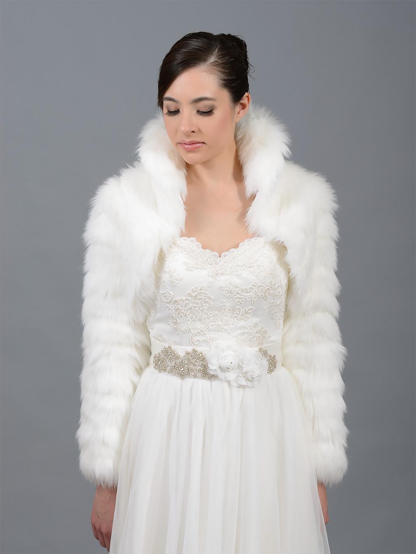 Ivory faux fur jacket shrug bolero Wrap FB002_Ivory
