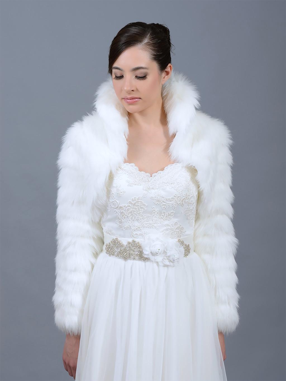 White faux fur jacket shrug bolero Wrap FB002_White
