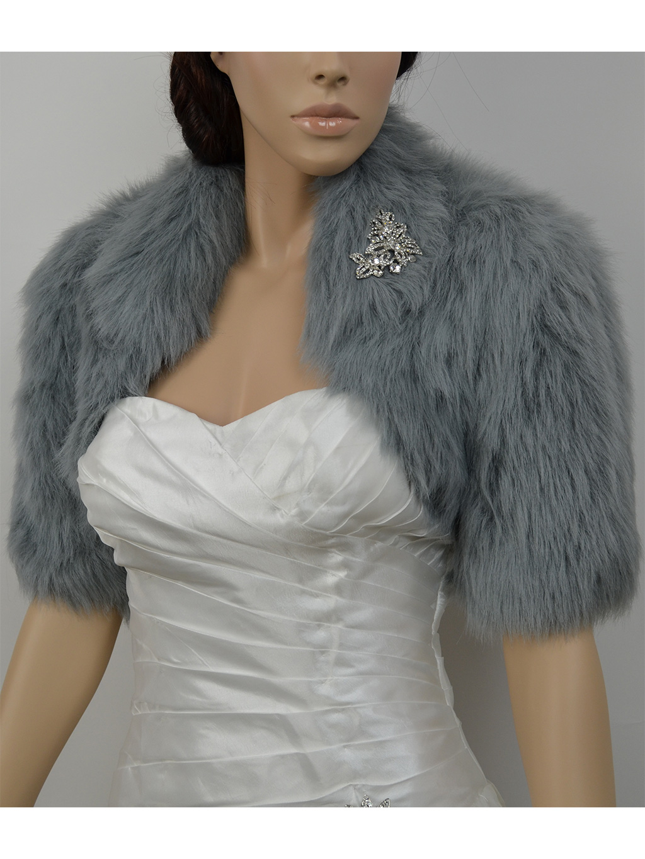 Silver elbow length sleeve faux fur bolero jacket shrug Wrap