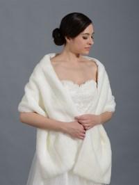 Faux fur stole bridal wrap shrug shawl - ivory and white