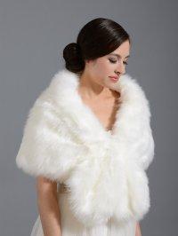 Faux fur wrap bridal shrug stole shawl cape A001