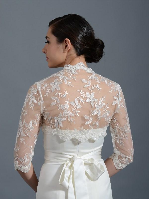 Ivory 3 4 Sleeve Bridal Embroidered Lace Wedding Jacket