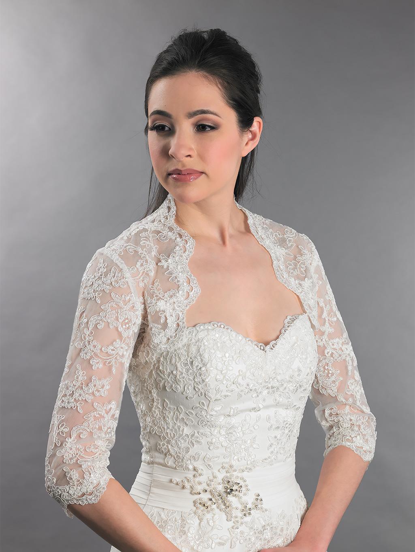 34 sleeve bridal lace wedding bolero jacket Lace_080