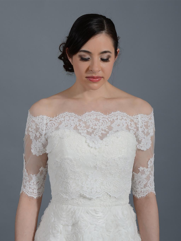 off shoulder wedding jacket lace bolero WJ008