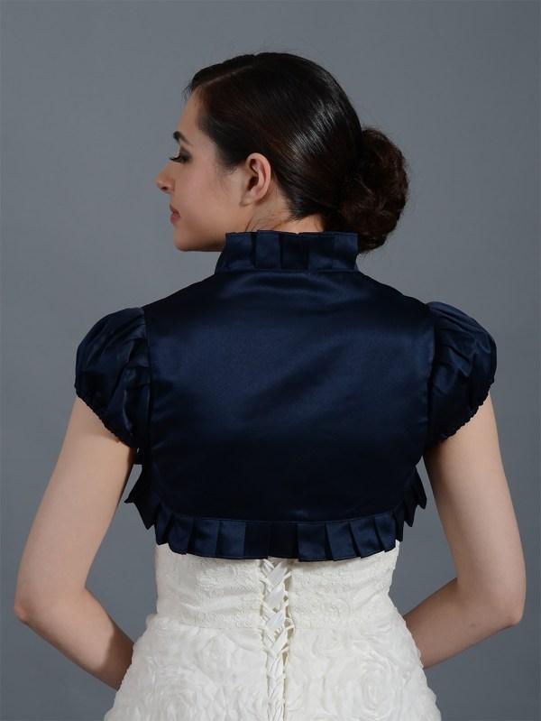 Navy Blue Short Sleeve Wedding Satin Bolero Jacket
