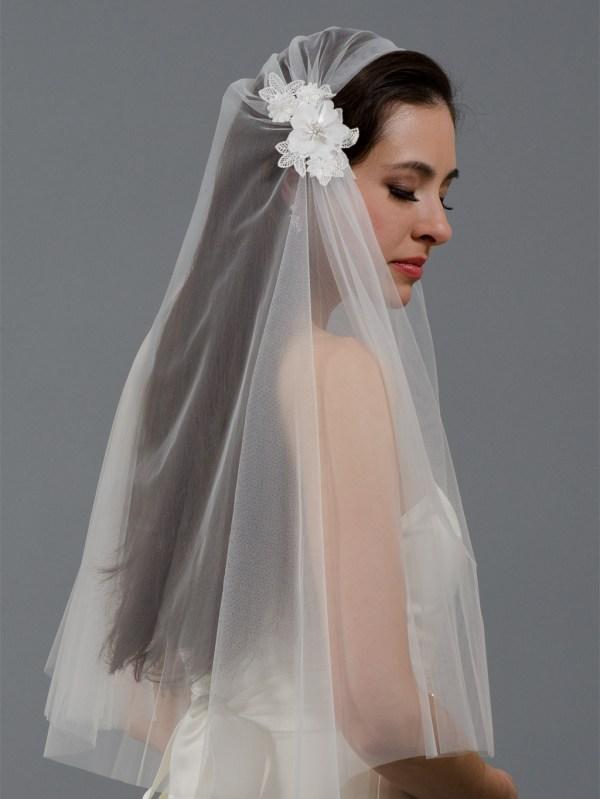 Ivory Juliet Cap Wedding Veil V047