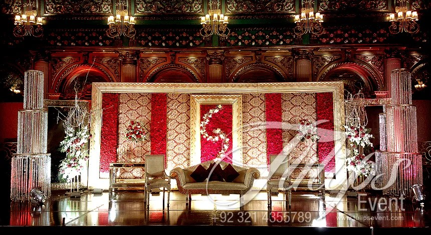 Red Baraat Stage Decoration Setup Planner in Lahore Pakistan 12