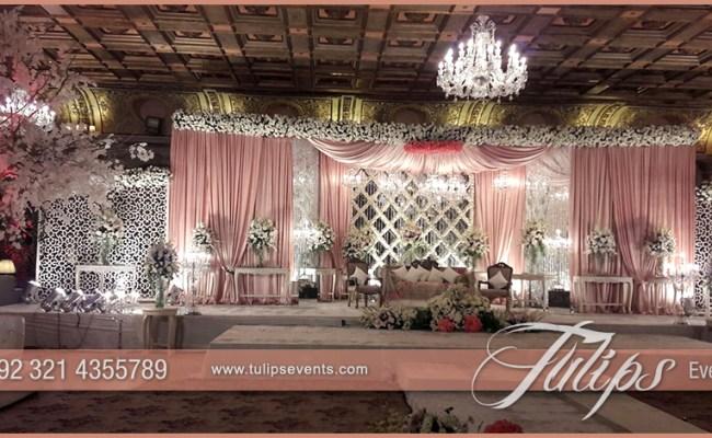 Pink White Pakistani Wedding Stage Setup Ideas By Tulips