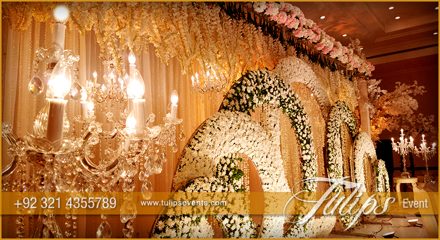 gold theme stage design setup decoration ideas in Pakistan 08