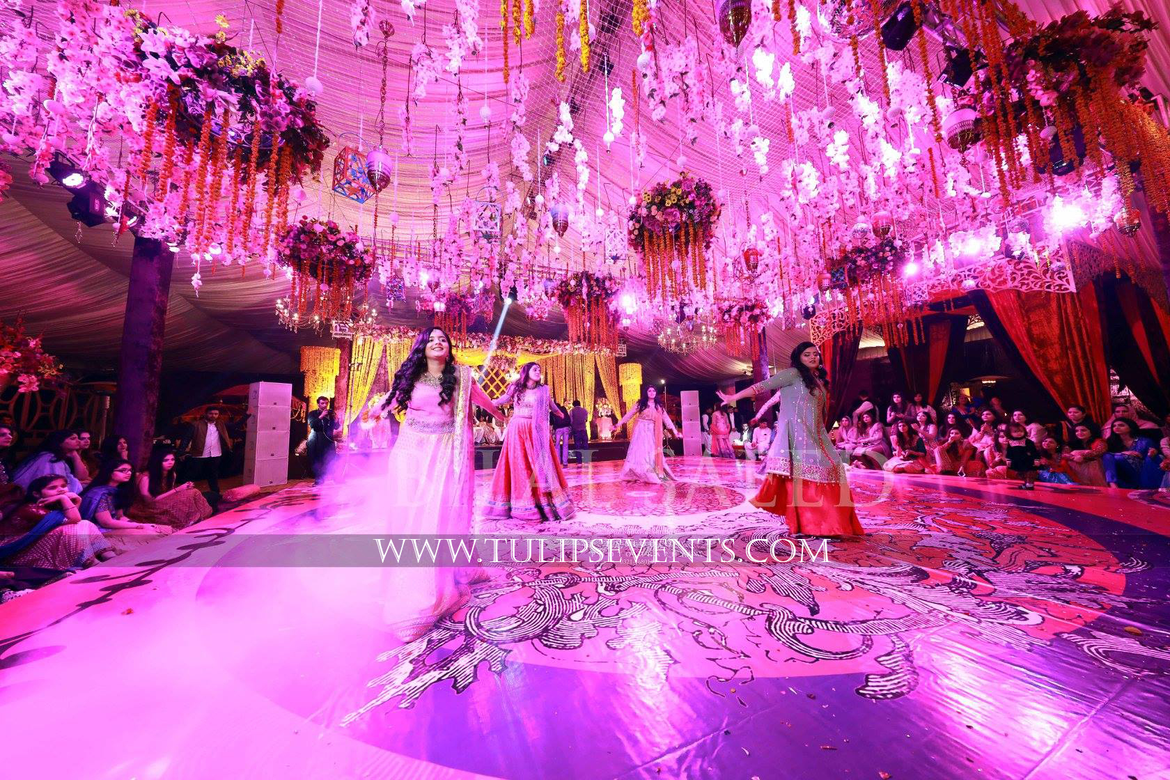 Enchanted mehndi stage dance floor roof decoration ideas for Floor decoration ideas