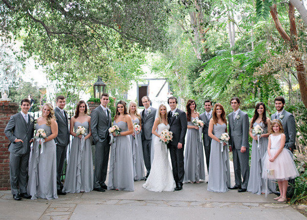Simple Gray Bridesmaids Dresses With Ruffled Designs