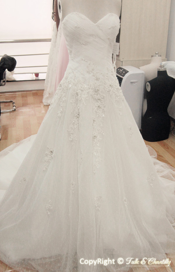 Process Show Time Ultra Romantic Ruched Organza Overlay Lace Applique Bridal Gown  Tulle