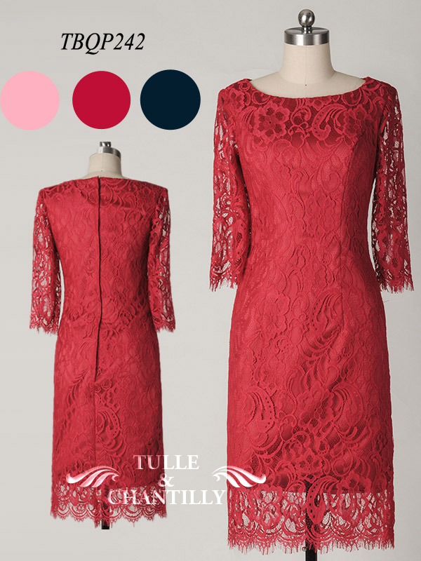 Delicate Sarbina Long Sleeves Knee length Fitted Full Lace Gown TBQP242