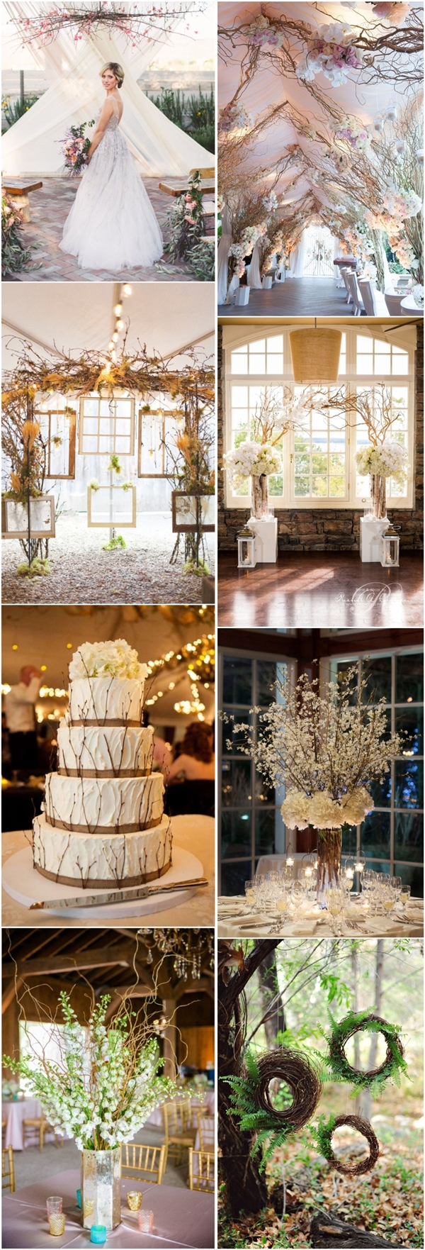 rustic fall wedding decor ideas tree branches wedding