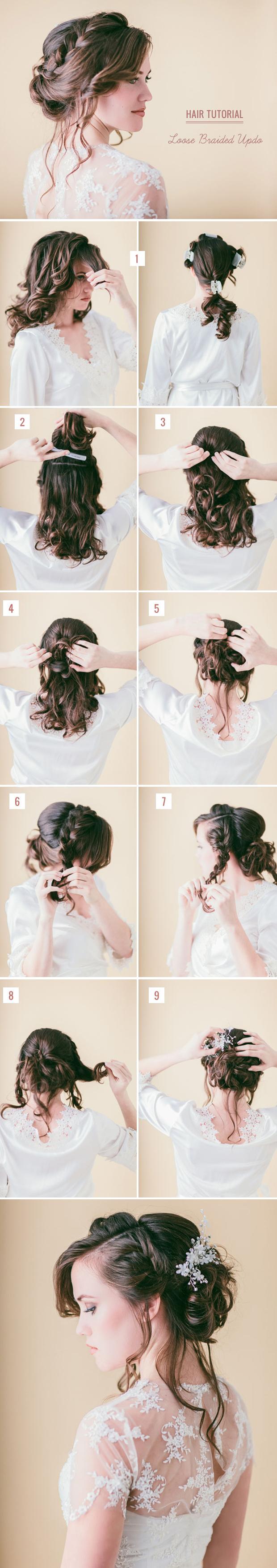 loose braided updo diy wedding hairstyles ideas