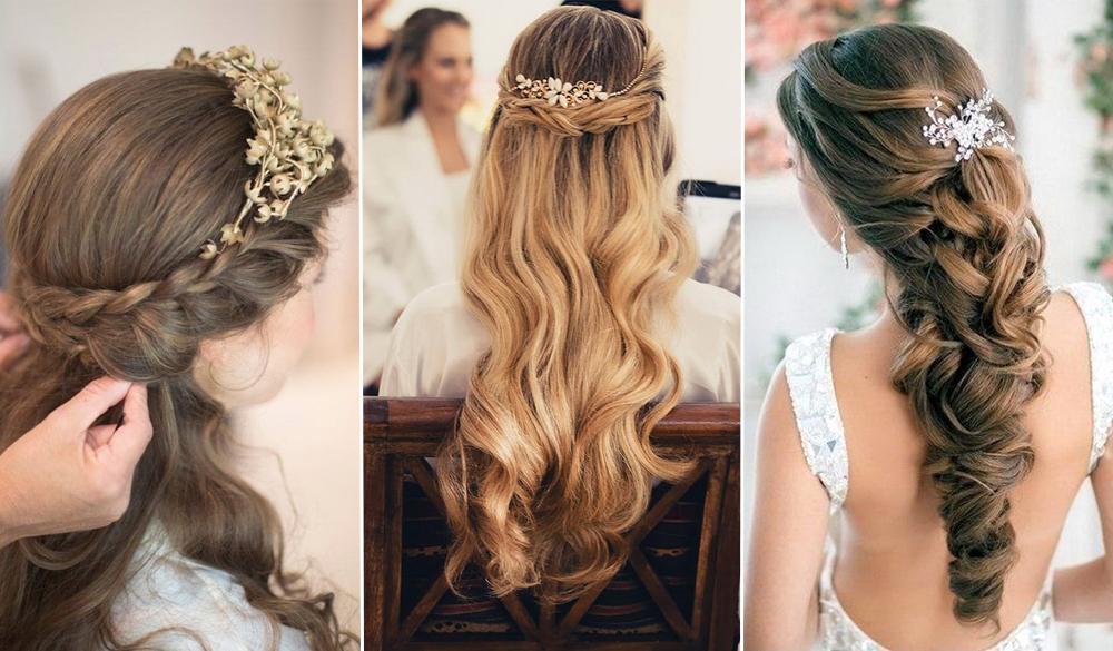 Elegant Wedding Hairstyles Half Up Half Down Tulle Chantilly