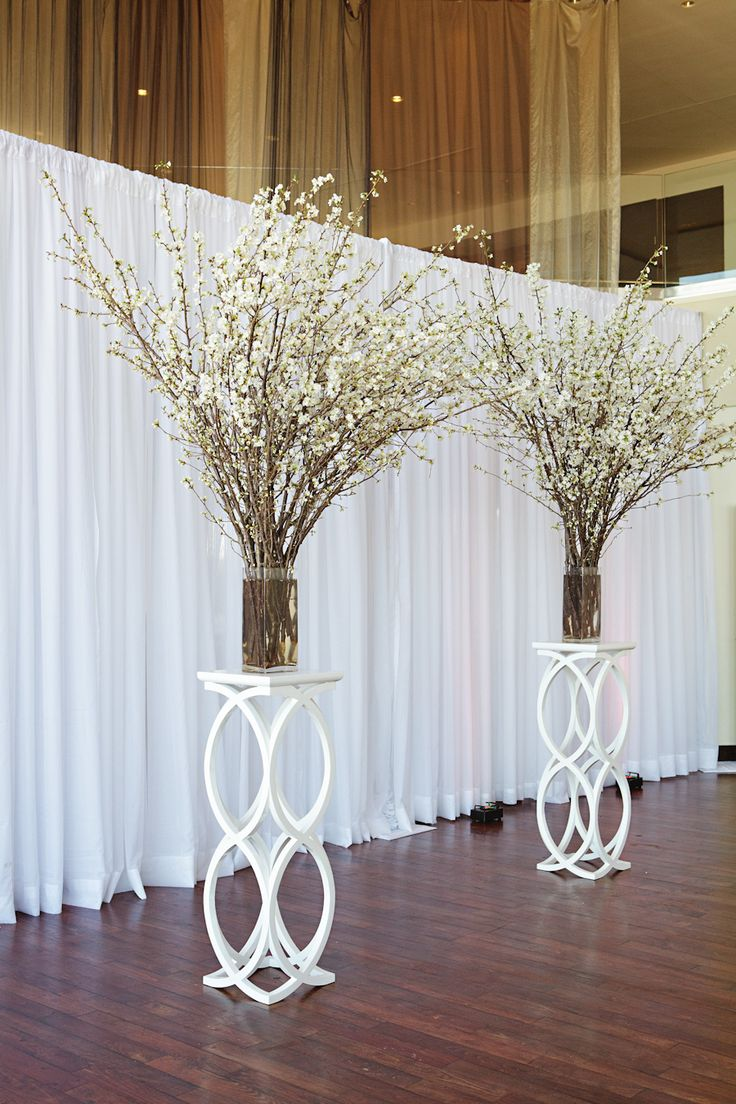 White Flower Branches Wedding Backdrop Tulle Amp Chantilly