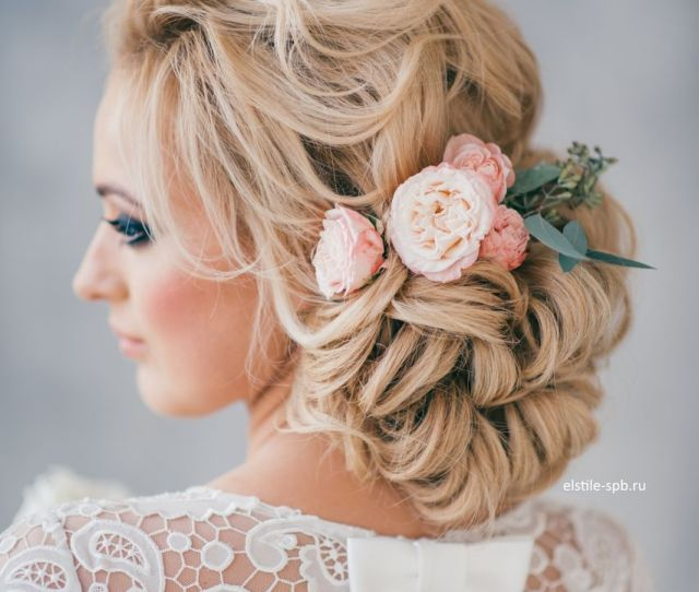 Blonde Curly Wedding Bridal Updo Hairstyles With Flowers