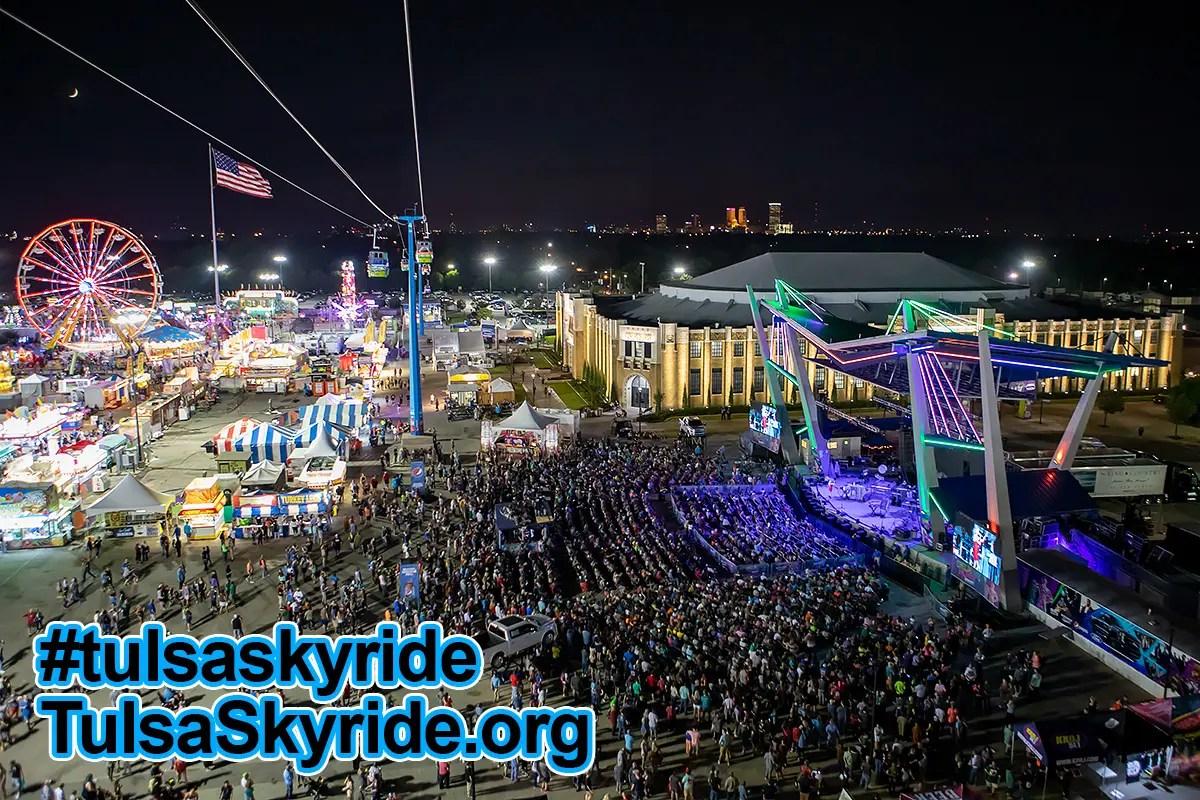Tulsa Skyride at night: The Skyride Experience