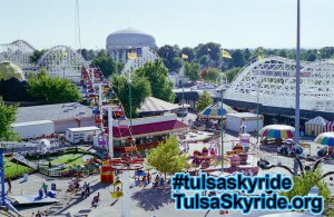View of Bell's Amusement Park from Tulsa Skyride, including Sky Glider chairlift and Zingo wooden roller coaster