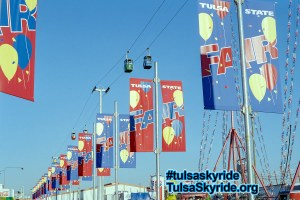 Bell's Amusement Park's Von Roll skyride towers above the 1995 Tulsa State Fair