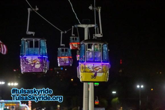Tulsa Skyride at night 2015: new external LED lighting on the cabins