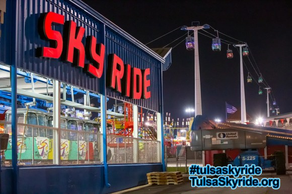 """Tulsa Skyride at night: eastern station with new LED """"SKYRIDE"""" sign"""
