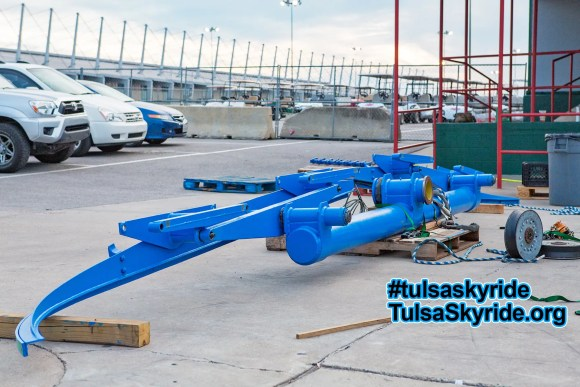 Tulsa Skyride tower 5 maintenance: roller battery with all sheaves (rollers) removed for service.
