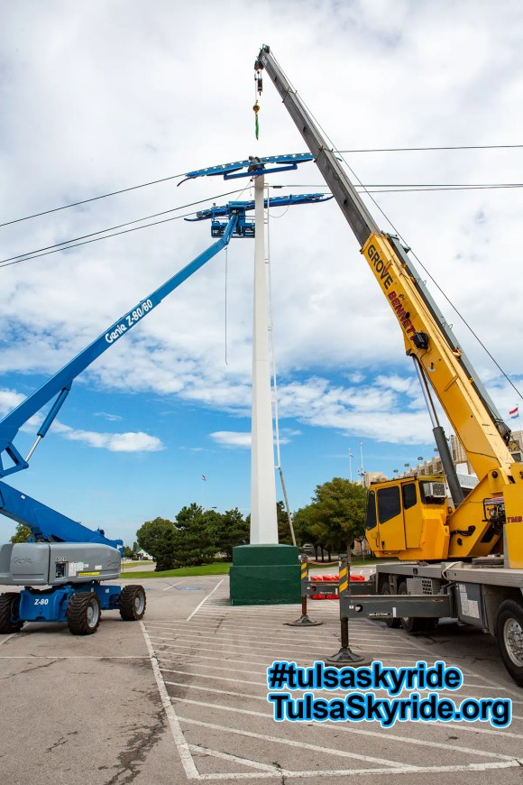 Tulsa Skyride tower 5 maintenance: tower 5 is back together again