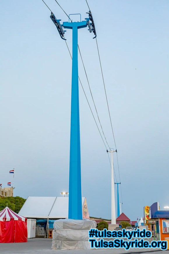 Tulsa Skyride: Just before the 2017 Tulsa State Fair, the skyride towers were painted bright blue.