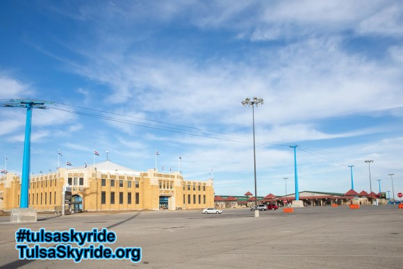 Tulsa Skyride: all five towers are painted blue for the first time.