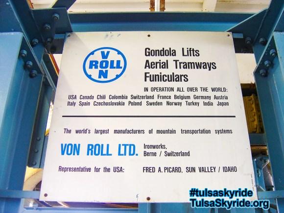 Tulsa Skyride: Von Roll sign in the eastern station