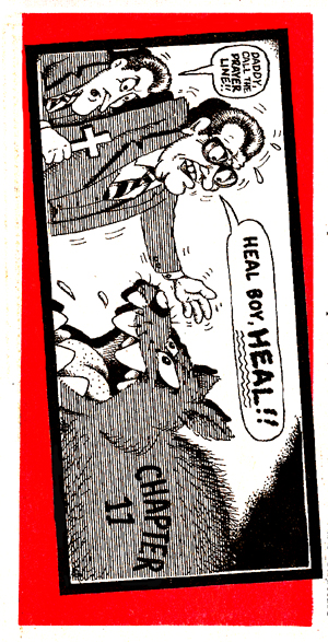 This cartoon of Oral and Richard by a local artist was first published by the Tulsa Independent News April 19, 1989.