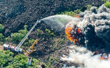 Mount Trashmore Cayman Islands Dump on Fire Photo by Chris Court