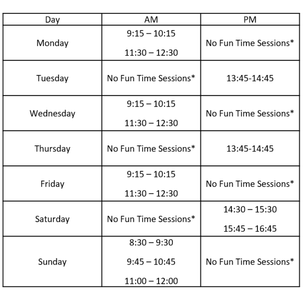 tumble fun time timetable