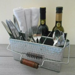 Copper Kitchen Utensil Holder Island Stools With Backs Shabby Chic Hammered Tin Caddy
