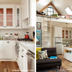 Tiny House Kitchens Lowes Kitchen Cabinet Handles Small Design Tips Tumbleweed Houses Cabinets With Glass Doors Help Make Look Larger In Her Little Rock Whidbey Lindsey Uses Frosted And A Brightly