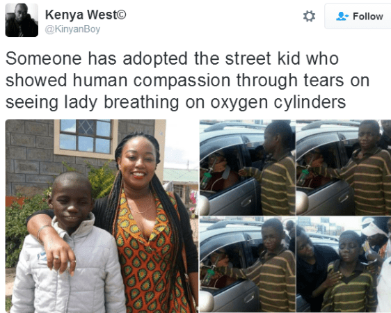 Lady Adopts Street Kid Who Broke Down After Approaching Woman With Oxygen Cylinder