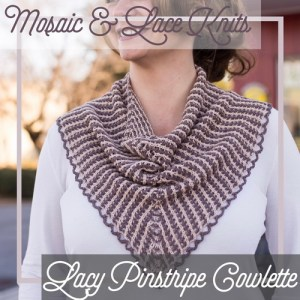 A cowl combining slip stitch colorwork and lace.