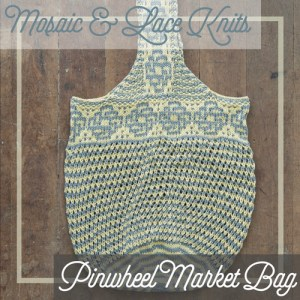 A market bag combining mosaic colorwork and lace.