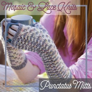 Fingerless mitts combining mosaic colorwork and lace.