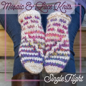 Mosaic colorwork mittens.