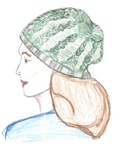 A sketch of a proposed two color cable hat.